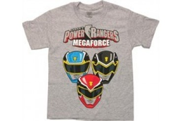 Youth Mighty Morphin Power Rangers Megaforce Royal Blue Costume T-shirt Tee