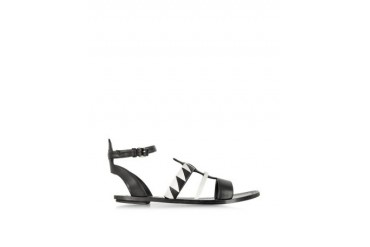 Two-Tone Leather Flat Sandal