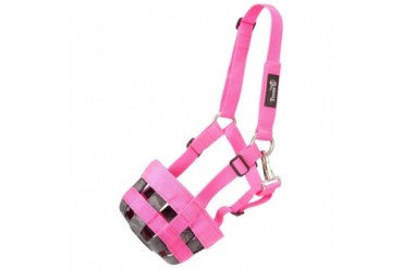 Tough-1 Poly Nylon Grazing Muzzle with Halter Pink Horse