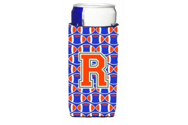 Letter R Football Green, Blue and Orange Ultra Beverage Insulators for slim