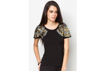 Limkokwing Fashion Club Bold Tee With Metallic Shoulder