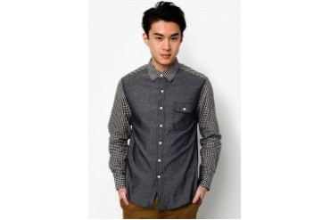 Long Sleeve Shirt With Contrast Check Sleeves