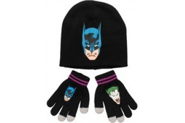 DC Comics Batman and Joker Reversible Youth Beanie Gloves Set