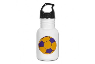 Purple and Gold Soccer Sports Kid's Water Bottle by CafePress
