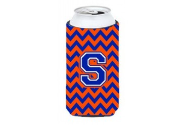 Letter S Chevron Orange and Blue Tall Boy Beverage Insulator Hugger