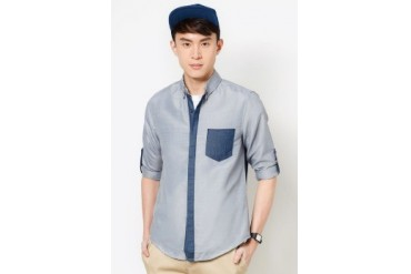 Long Sleeve Oxford Shirt With Contrast Placket