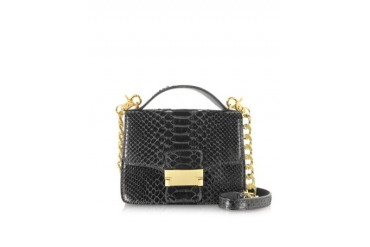 Black Python Leather Shoulder Bag