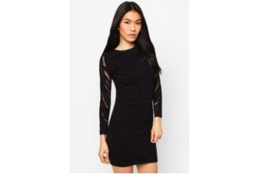 RIVER ISLAND Black Crochet Sheer Sleeve Bodycon Dress
