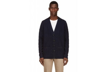 Sacai Navy Cable Knit And Angora Cardigan
