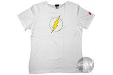 DC Comics Flash Logo White Baby Doll Tee