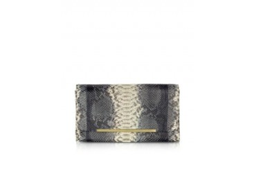 Reversible Gray and Black Python Clutch
