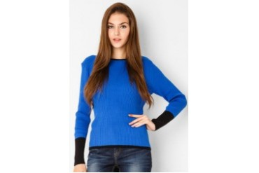 Noir Sur Blanc Ladies Oneck Blouse W/Long Sleeve