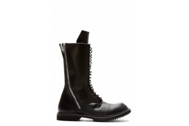 Rick Owens Black Leather Double Zip Boots