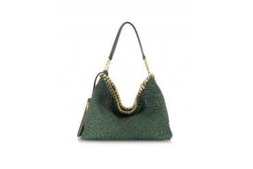 Emerald Green Woven Leather Shoulder Bag