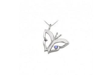 fly Pendant Necklace with Created Tanzanite in Sterling Silver 0.15 CT TGW.