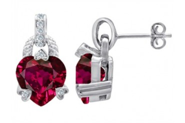 Star K Heart Shape Created Ruby Designer Hanging Drop Earrings