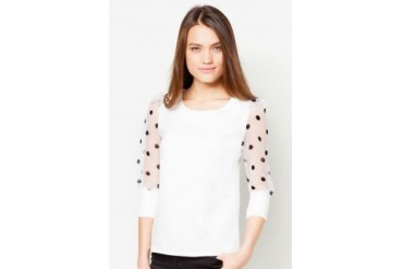 TLA Polka Dot Long-Sleeved Chiffon Top