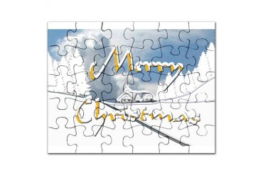 Merry Christmas Snow Scene Trees Puzzle by CafePress