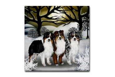 Australian Shepherd Dogs Winter Sun Tile Coaster