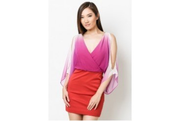 Ombre Deep V Dress