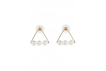 Saturation Triangle Cut Out Pearl Ear Studs