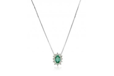 Diamond and Emerald Drop 18K Gold Necklace