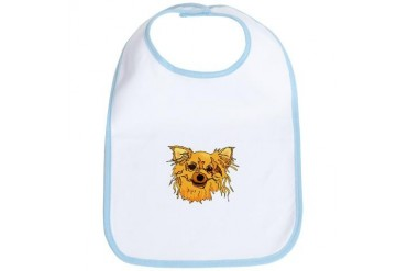 Hairy blonde dog head brown eyes graphic Dog Bib by CafePress