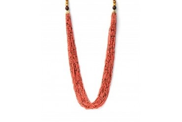 Multi Strand Seed Bead and Wood Necklace Coral