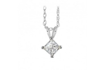 Conflict Free Diamond Pendant in White Gold Free Chain