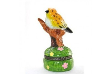 Yellow Bird Perched on Tree Branch Porcelain Hinged Trinket Box