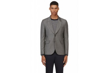 Paul Smith Grey Wool Crosshatched Blazer