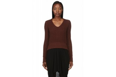 Rick Owens Magohany Brown Knit Sweater
