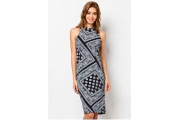 Frangipani Closet Tribal Fitted Halter Dress