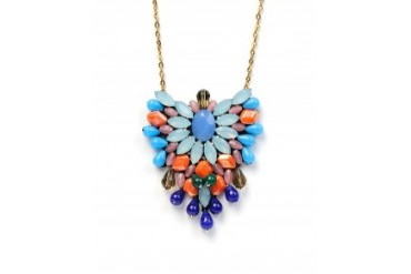 G-Lish Multi Beaded Pendant Necklace With Drops Multi