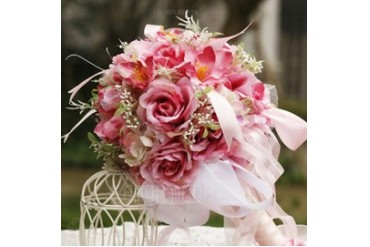 Pretty Round Satin Bridal Bouquets (124032110)