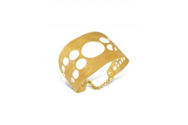 Golden Silver Etched Cut Out Cuff Bracelet