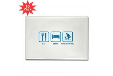 Eat Sleep Windsurfing Funny Rectangle Magnet 10 pack by CafePress