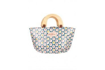 G. Davin Blue Floral Handbag With Yellow Handle