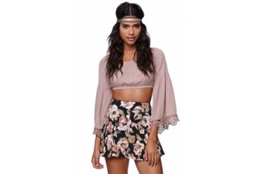 Womens Cotton Candy - Cotton Candy Crop Bell Sleeve Top