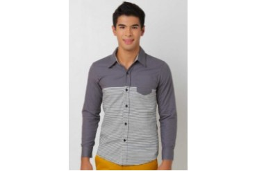 Pinoy Basics STRIPES GRAY SHIRT