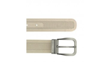 Men's Beige Perforated Leather Belt
