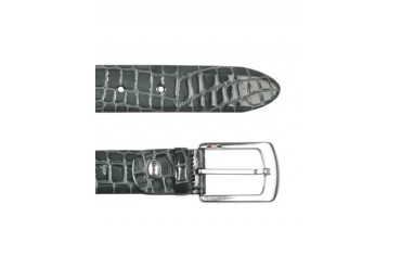 Men's Gray Croco Stamped Patent Leather Belt