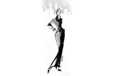 Fifties Fashion III with Red Poster Print by Anne Tavoletti (24 x 48)