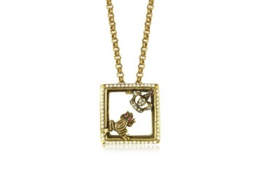 Gemstone Gold Plated Brass Little Frog and Crown Necklace