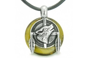 Amulet Howling Wolf Feathers Tiger Eye Lucky Donut Necklace