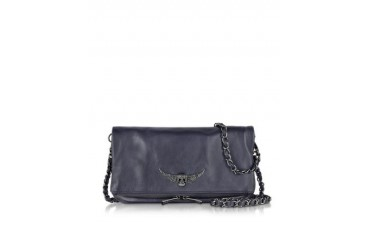 Midnight Blue Rock Leather Shoulder Bag