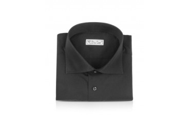 Blue Roses - Solid Black Wide Spread Collar Cotton Slim Dress Shirt