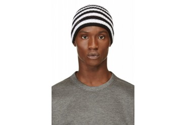 Dsquared2 Black And White Striped Wool Knit Tuque