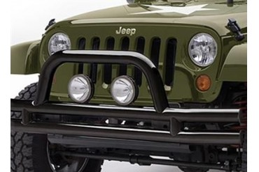 Smittybilt 3 Inch Front Double Tube Bumper with Hoop in Textured Black Powder Coat JB48-FT Front Bumpers