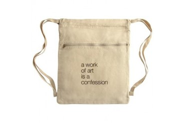 A work of Art is a Confession Sack Pack Art Cinch Sack by CafePress
